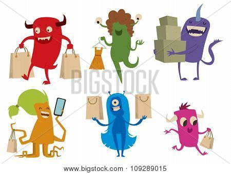 Cartoon cute monsters shopping vector