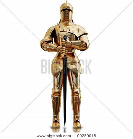 Illustration Of A Golden Armor. Isolated