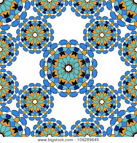 Gorgeous seamless pattern from blue Moroccan tiles, ornaments. Can be used for wallpaper, pattern.
