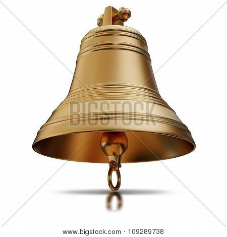 Illustration Of A Golden Bells And Bow. Isolated