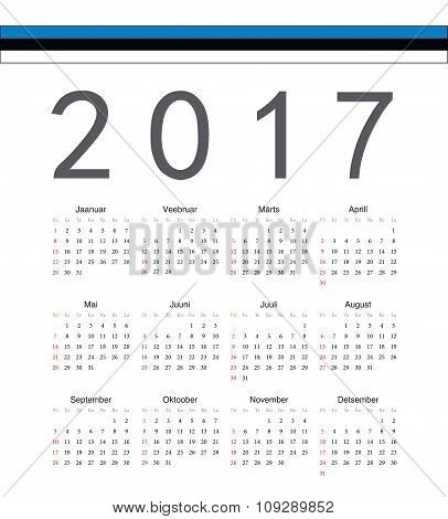 Square Estonian 2017 Year Vector Calendar