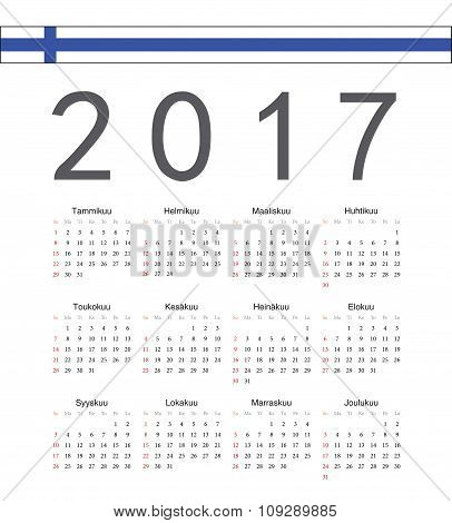 Square Finnish 2017 Year Vector Calendar
