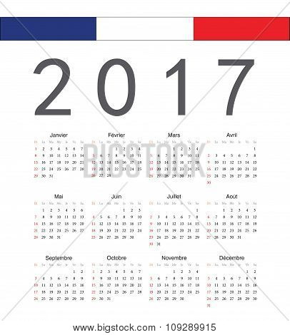 Square French 2017 Year Vector Calendar