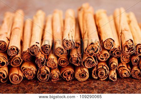 bunch of ceylon cinnamon on brown - herbs and spices