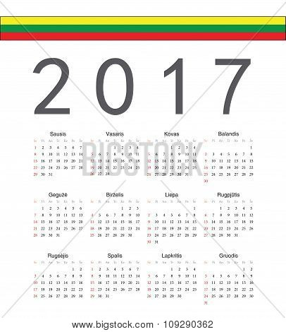 Square Lithuanian 2017 Year Vector Calendar