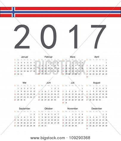 Square Norwegian 2017 Year Vector Calendar