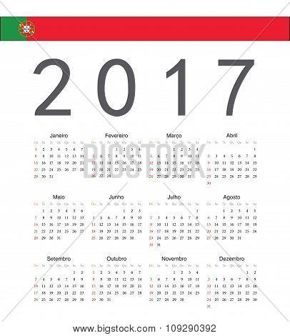 Square Portuguese 2017 Year Vector Calendar