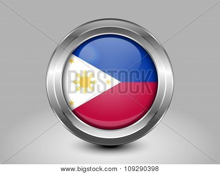 Flag Of Philippines. Metal Round Icon
