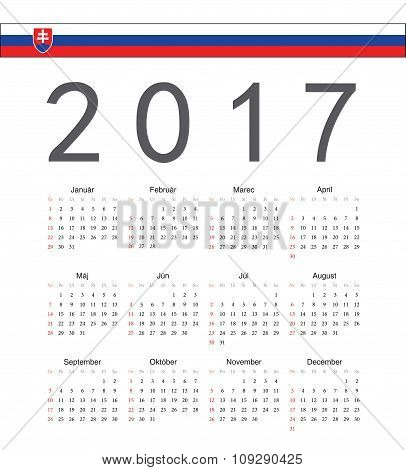Square Slovak 2017 Year Vector Calendar