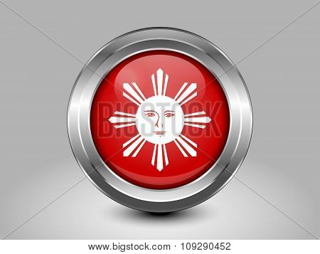 Philippines Variant Flag. Metal Round Icon