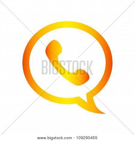 Orange phone handset in speech bubble flat icon on a white background. Call center vector illustrati