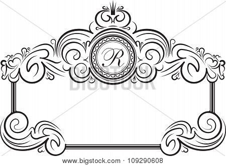 Unusual, Decorative Lace Ornament, Vintage Frame With Crown And Round Place For Monogram. Vector Ill
