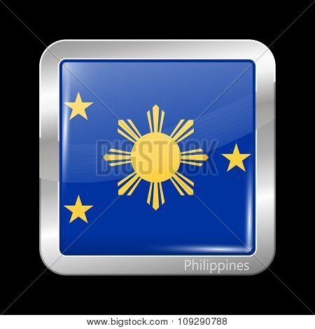Philippines Variant Flag. Metallic Icon Square Shape