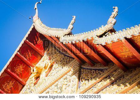 Sri Don Chai Temple Is Tourist Attraction Of Chiang Khong, Chiang Rai, Thailand