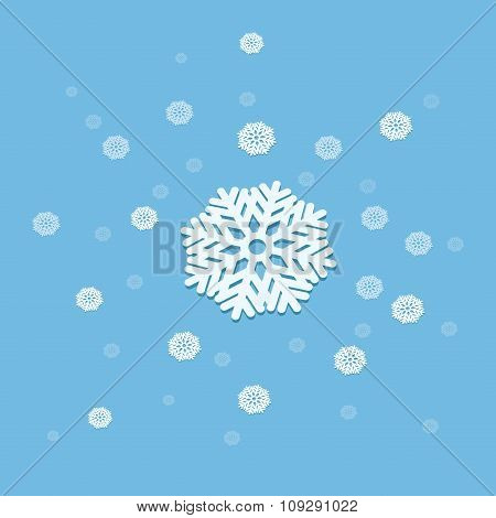 3D vector snowflake explosion abstract illustration isolated on blue background.