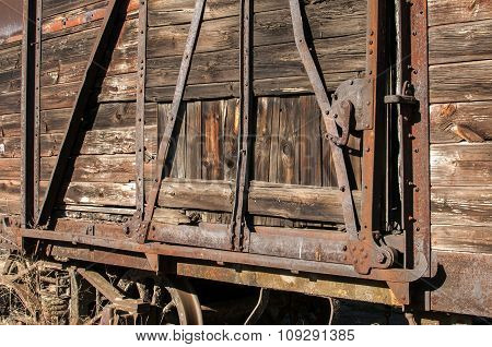 Old retro wooden wagon closeup