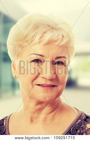 Portrait of an old, elderly lady