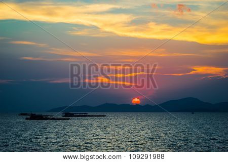 The Sun Before Sunset View From The Sea Thailand