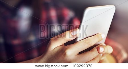 Hands Holding Smart Phone Connection Communication Concept