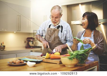 Cooking Couples Elders Kitchen Food Happiness Family Fresh Meal Home Concept