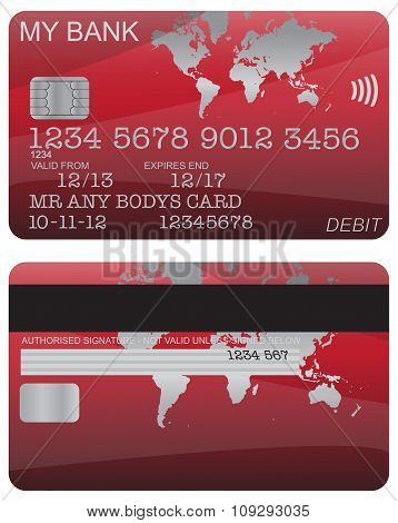 Debit Card Red World Map