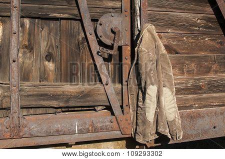 Corduroy jacket on wooden wall