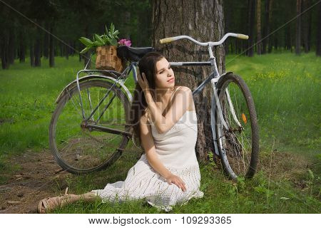 Happy Young Beautiful Woman With Retro Bicycle