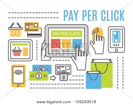 Pay per click internet advertising concept. Flat line vector illustration
