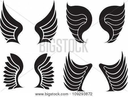 Set Of Four Pairs Of Wings. Vector Illustration.