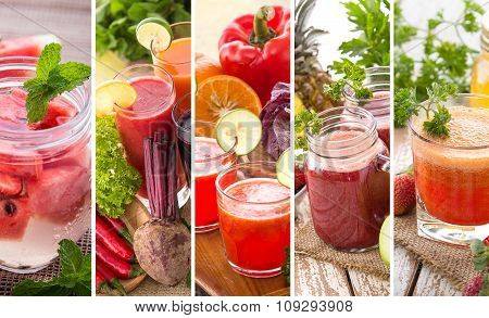 Various Red Juices From Mix Tropical Fruit