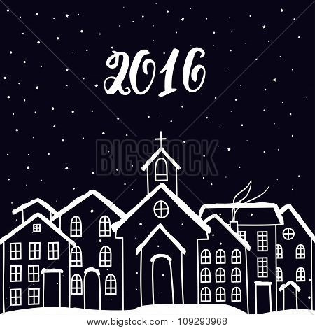 New Year  And  Christmas Card With Houses In Vector