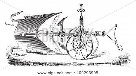 Plough double-Delahaye Tailor with both feet subsoiler, vintage engraved illustration. Industrial encyclopedia E.-O. Lami - 1875.