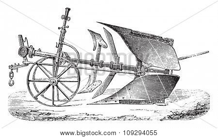 Double plough Brabant Mr Delahaye, vintage engraved illustration. Industrial encyclopedia E.-O. Lami - 1875.