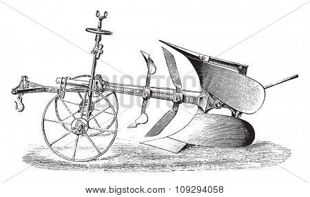 Plow double by R. Hornsby, vintage engraved illustration. Industrial encyclopedia E.-O. Lami - 1875.