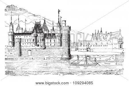 The Louvre under Philip Augustus, vintage engraved illustration. Industrial encyclopedia E.-O. Lami - 1875.