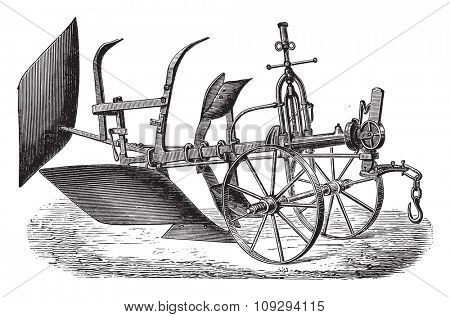 Double plough subsoiler of Bajac-Delahaye, vintage engraved illustration. Industrial encyclopedia E.-O. Lami - 1875.