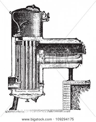 Fork-Delaharpe boiler, vintage engraved illustration. Industrial encyclopedia E.-O. Lami - 1875.