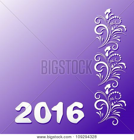 2016 Happy New Year and Merry Christmas, white floral ornament on a purple background. Vector Illyus