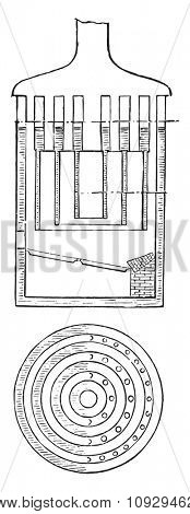 Boilers, Fireplace, Blades of water, Oven door, vintage engraved illustration. Industrial encyclopedia E.-O. Lami - 1875.