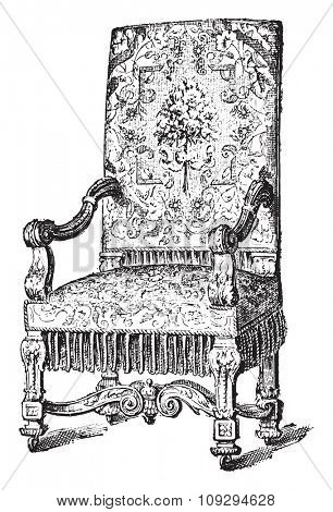 Louis-four chair, vintage engraved illustration. Industrial encyclopedia E.-O. Lami - 1875.