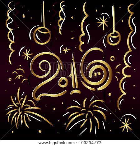 2016 Merry Christmas and Happy New Eap zgreeting card in gold letters on a dark background with fire