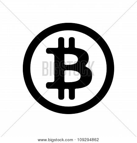 Black bitcoin icon in a circle on a white background. Vector illustration