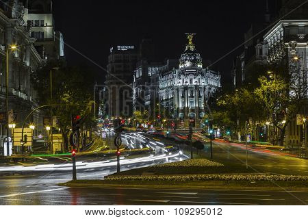 Night Image Of The Streets Of Madrid