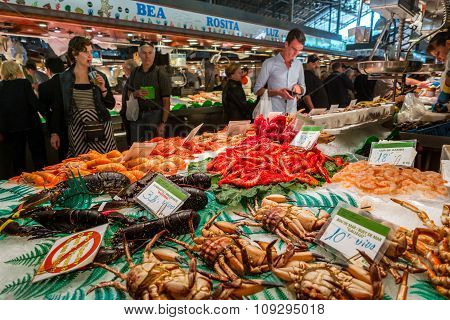 Famous La Boqueria Market With Seafood In Barcelona