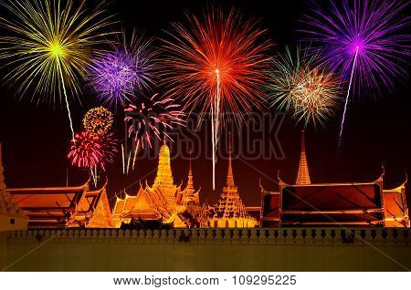 Firework Celebration At Wat Phra Kaeo, Bangkok, Thailand.