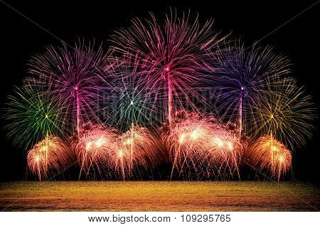 Firework Celebration From The Sea Shore.