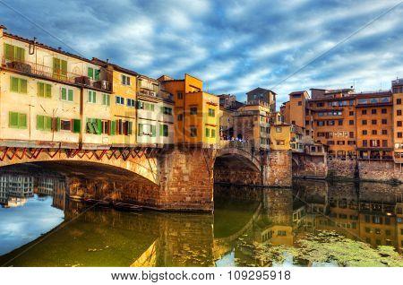 Ponte Vecchio bridge in Florence, Italy. Arno River. Tuscany
