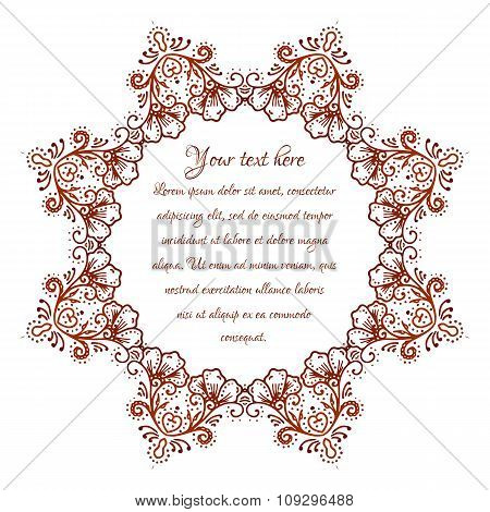 Circular floral ornament Mehndi Henna Tattoo Mandala, Yantra brown. Vintage vector banner frame card