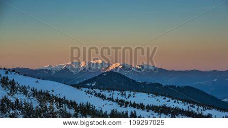 Winter Evening Scene In Carpathian Mountains
