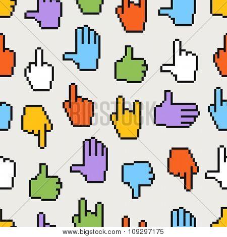 Pixel hand cursors seamless pattern
